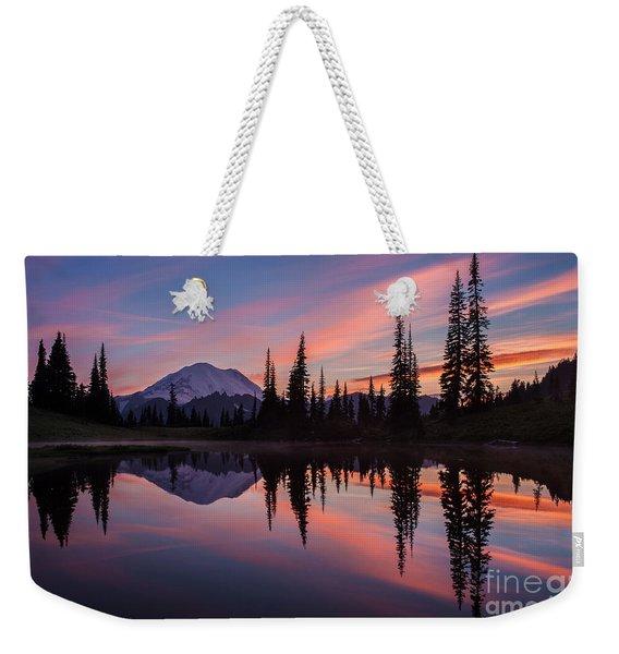 Fiery Rainier Sunset Weekender Tote Bag