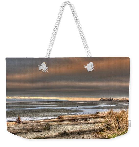 Fiery Sky Over The Salish Sea Weekender Tote Bag