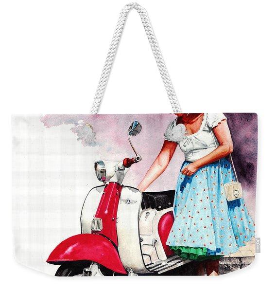 Fifties Lambretta Girl Weekender Tote Bag