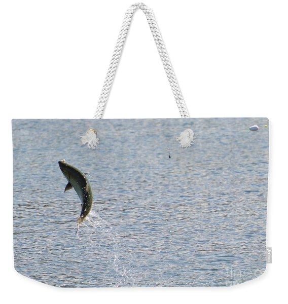 Fighting Chinook Salmon Weekender Tote Bag