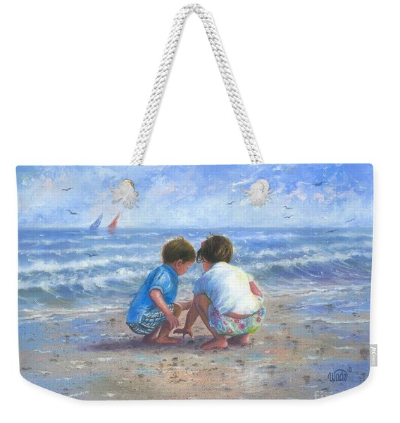 Finding Sea Shells Brother And Sister Weekender Tote Bag
