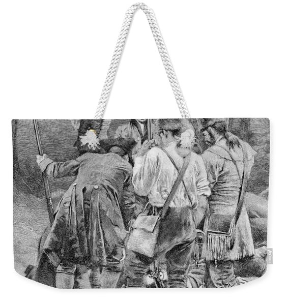 Finding The Body Of One Of Their Companions, Scalped And Horribly Mangled, Engraved By F.h Weekender Tote Bag