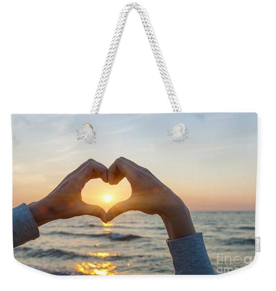 Fingers Heart Framing Ocean Sunset Weekender Tote Bag