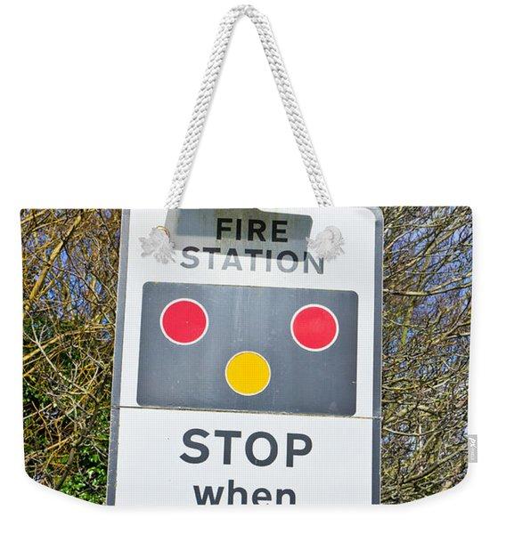 Fire Station Sign Weekender Tote Bag