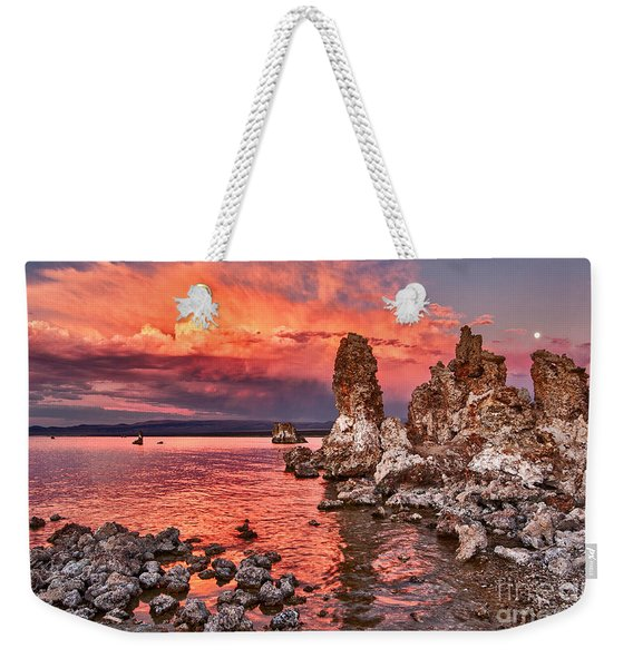 Fire - Sunset View Of The Strange Tufa Towers Of Mono Lake And Moonrise In California. Weekender Tote Bag