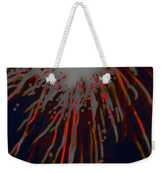 Weekender Tote Bag featuring the photograph Fire Works by Mae Wertz