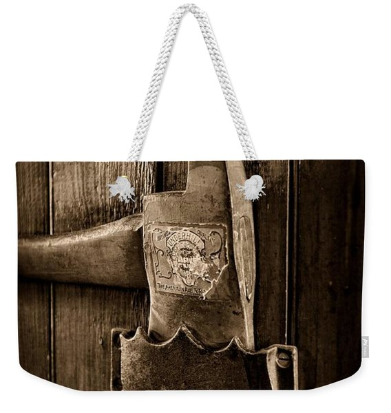 Fireman - Fire Axe In Black And White Weekender Tote Bag