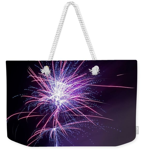 Weekender Tote Bag featuring the photograph Fireworks - Purple Haze by Scott Lyons