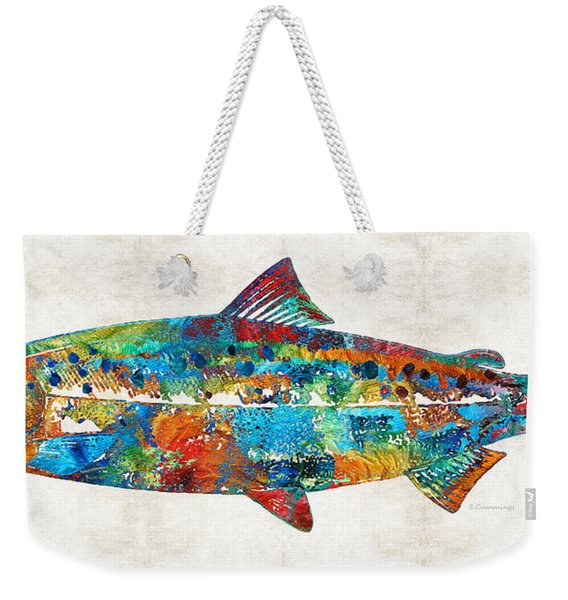 Fish Art Print - Colorful Salmon - By Sharon Cummings Weekender Tote Bag