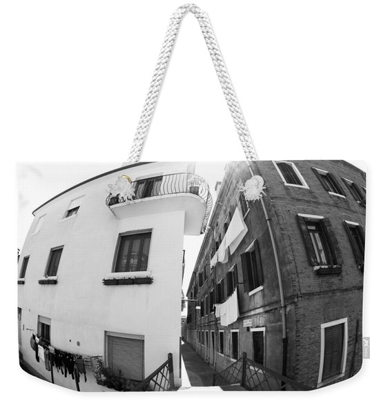 Fish Eye Laundry II Black And White Venice Italy Weekender Tote Bag