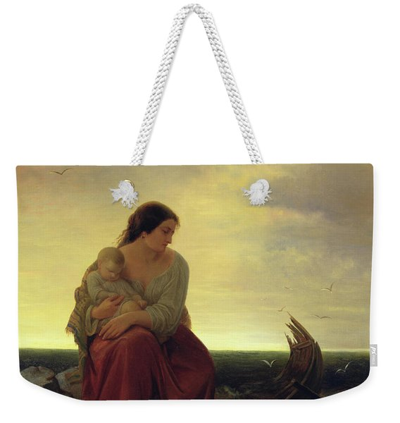 Fishermans Wife Mourning On The Beach Oil On Canvas Weekender Tote Bag