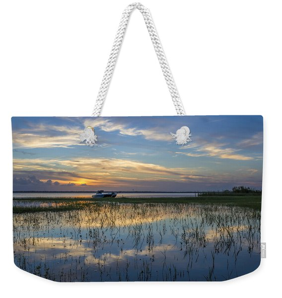 Fishing Boat At The Lake Weekender Tote Bag