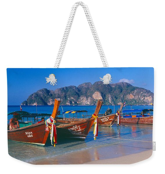 Fishing Boats In The Sea, Phi Phi Weekender Tote Bag