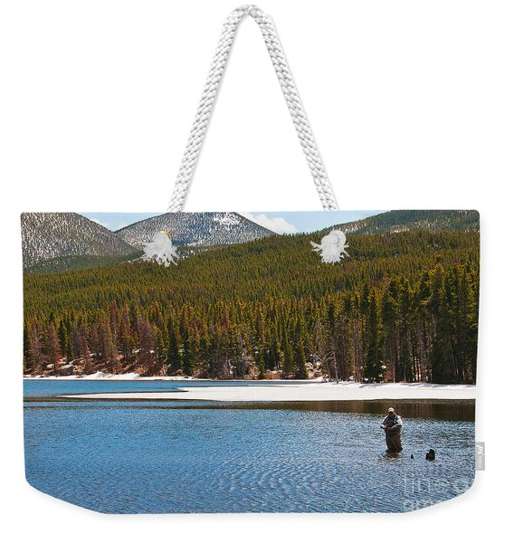 Weekender Tote Bag featuring the photograph Fishing In Winter by Mae Wertz
