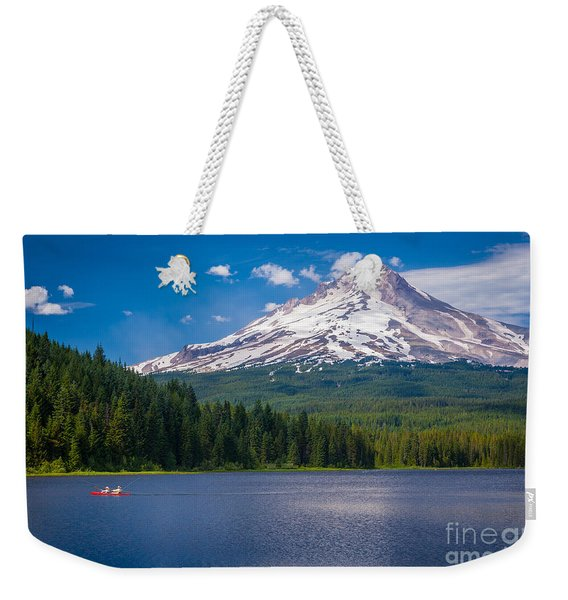Fishing On Trillium Lake Weekender Tote Bag