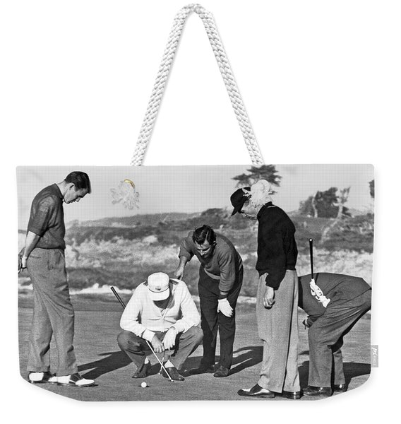 Five Golfers Looking At A Ball Weekender Tote Bag