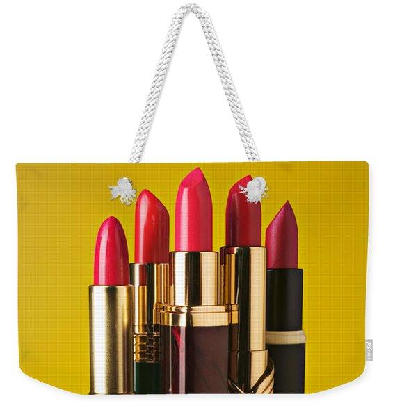 Five Red Lipstick Tubes On Pedestal Weekender Tote Bag