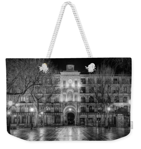 Five Till Seven In Black And White Weekender Tote Bag