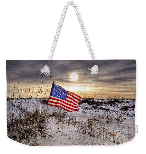 Flag On The Beach Weekender Tote Bag