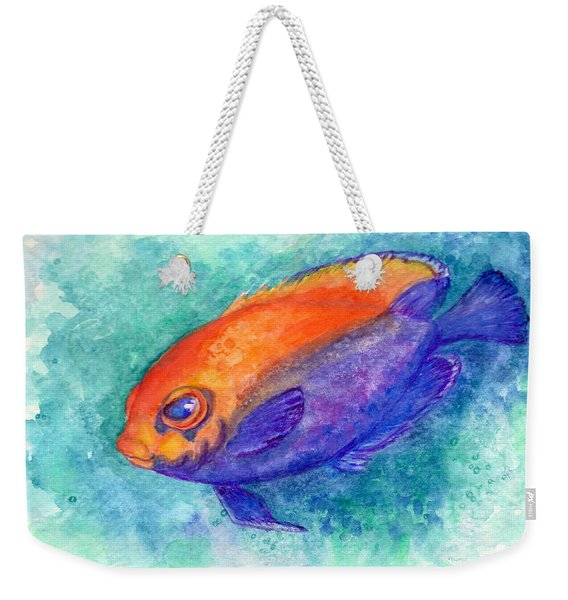 Weekender Tote Bag featuring the painting Flameback Angelfish by Ashley Kujan