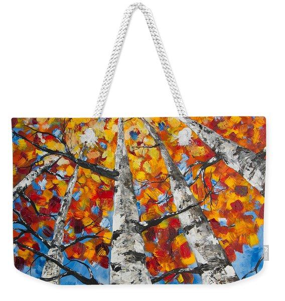 Flaming Aspens Weekender Tote Bag