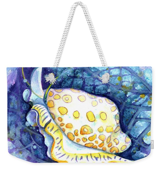 Weekender Tote Bag featuring the painting Flamingo Tongue by Ashley Kujan