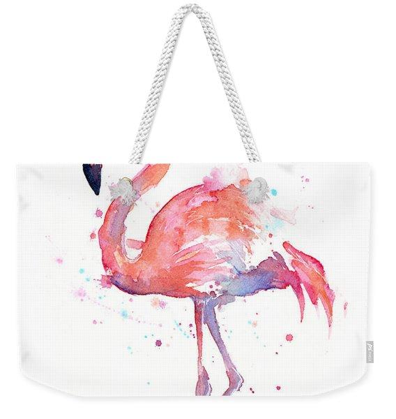 Flamingo Watercolor Weekender Tote Bag