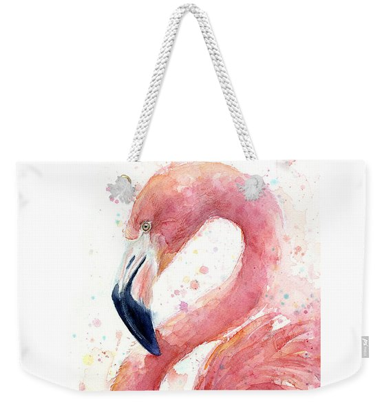 Flamingo Watercolor Painting Weekender Tote Bag