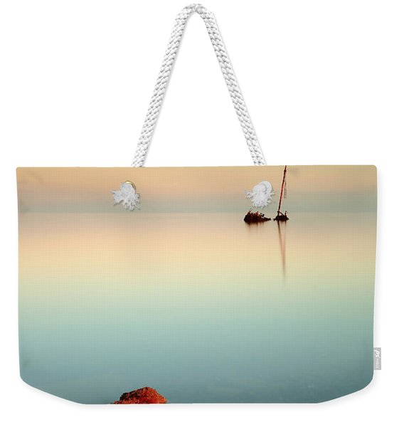 Flat Calm Shipwreck Sunrise Weekender Tote Bag