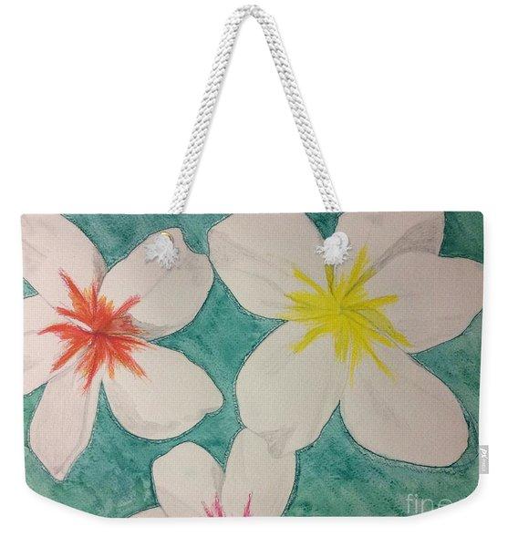 Floating Plumeria Weekender Tote Bag