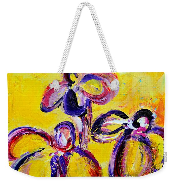 Abstract Flowers Silhouette No 9 Weekender Tote Bag