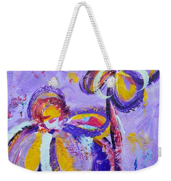 Lavender Abstract Flowers No 8  Weekender Tote Bag