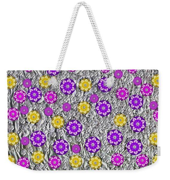 Floral Fantasy And Silver  Weekender Tote Bag