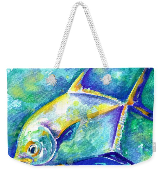 Weekender Tote Bag featuring the painting Florida Keys Permit by Ashley Kujan