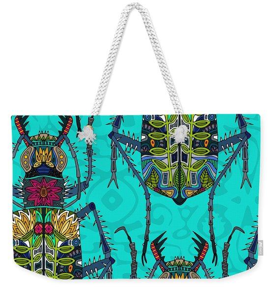 Flower Beetle Turquoise Weekender Tote Bag