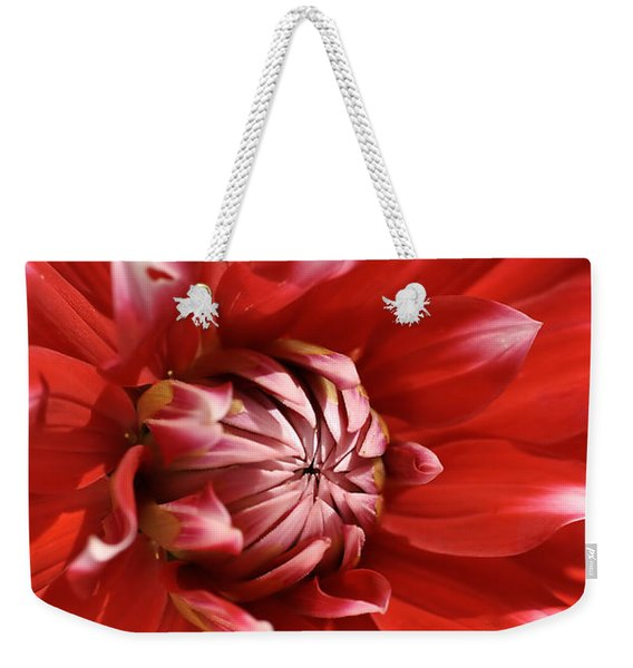 Flower- Dahlia-red-white Weekender Tote Bag