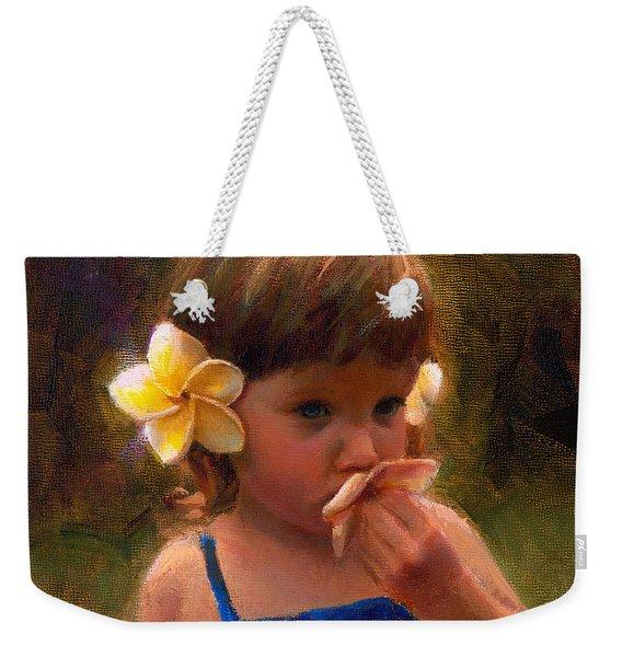 Flower Girl - Tropical Portrait With Plumeria Flowers Weekender Tote Bag