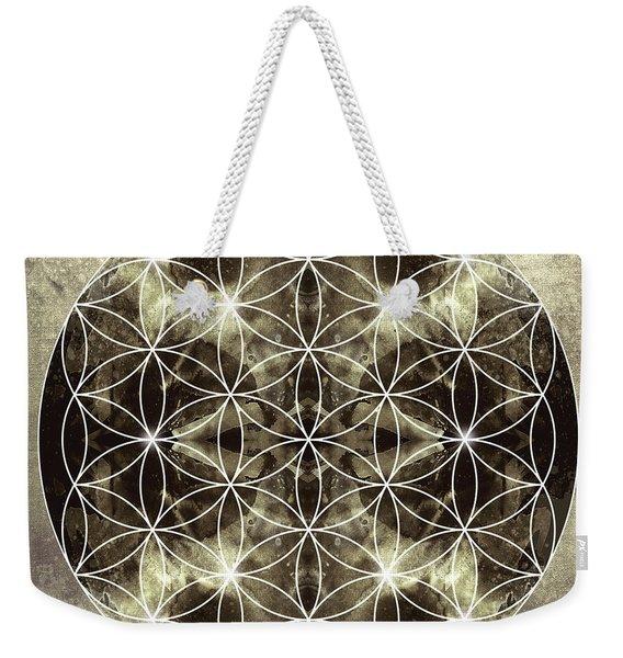 Flower Of Life Silver Weekender Tote Bag