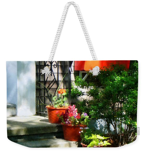 Flower Pots And Red Shutters Weekender Tote Bag