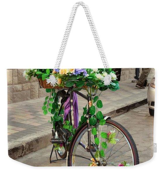 Flower Power Meets Pedal Power  Weekender Tote Bag
