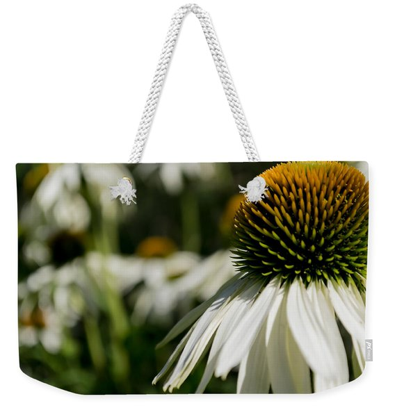 Weekender Tote Bag featuring the photograph Flowers - Echinacea White Swan by Scott Lyons