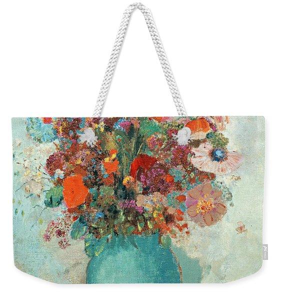 Flowers In A Turquoise Vase Weekender Tote Bag