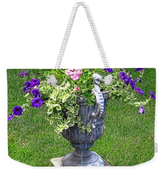 Flowers In Garden Urn Weekender Tote Bag