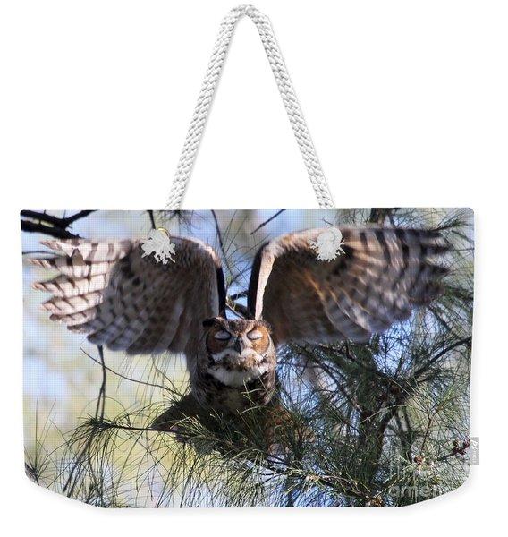 Flying Blind - Great Horned Owl Weekender Tote Bag