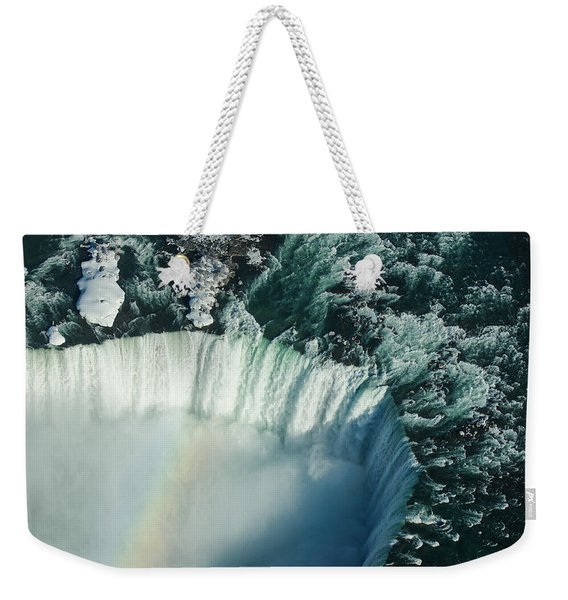 Flying Over Icy Niagara Falls Weekender Tote Bag