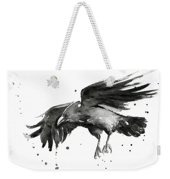 Flying Raven Watercolor Weekender Tote Bag