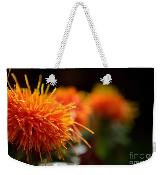Weekender Tote Bag featuring the photograph Focused Safflower by Scott Lyons