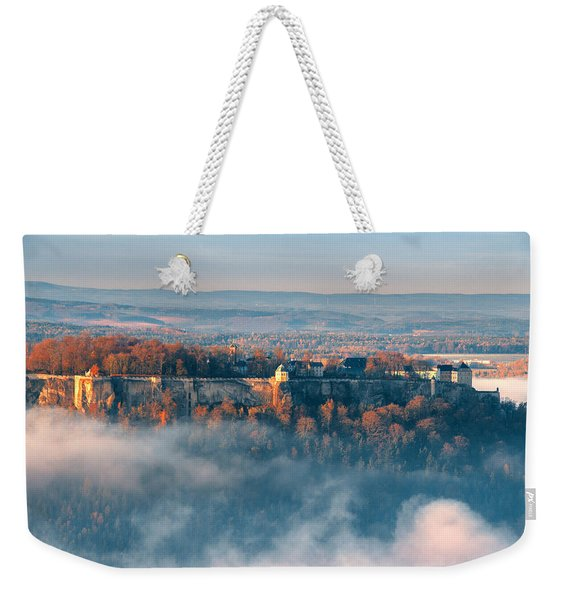 Fog Around The Fortress Koenigstein Weekender Tote Bag