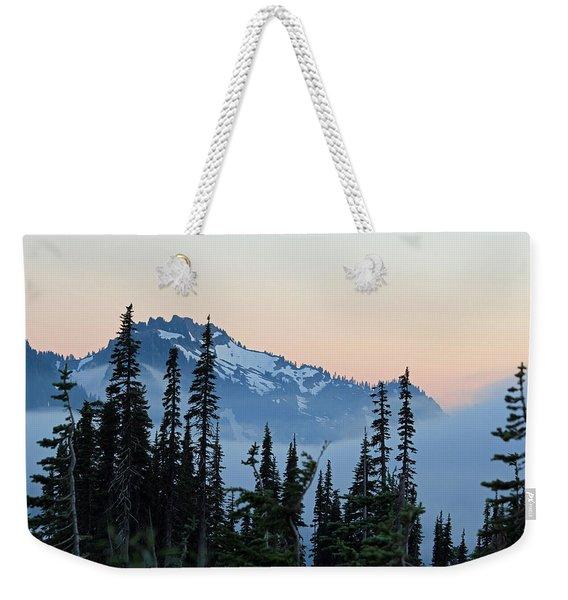 Mt. Rainier's Foggy Sunset Weekender Tote Bag