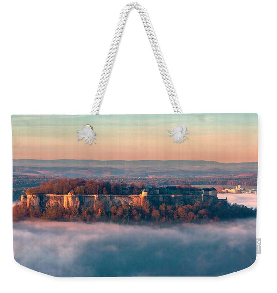 Fog Surrounding The Fortress Koenigstein Weekender Tote Bag